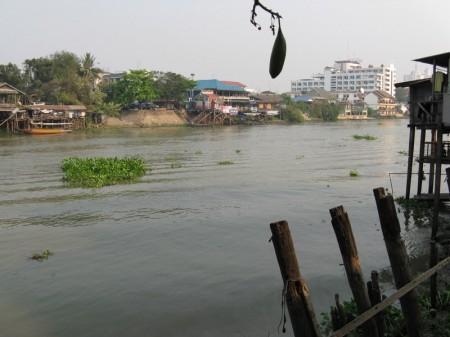 Blick von der Terrasse  auf den Fluss und unser Hotel