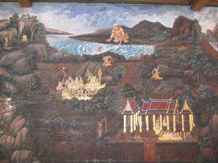 auf den Gemälden in den Wandelgängen sieht man auch Rettungsversuche aus dem Wildwasser